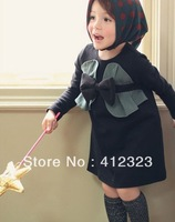 baby kids girls fashion beautiful party silk dress  with scarf set children clothing wear 5pcs/lot free shipping