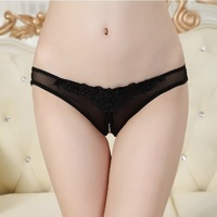 Free Shipping Women's Sexy Lace Open Ctroch Pearl Beading Thongs Panties Underwear Ladies' T-Back G-string V-string Sex Product