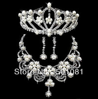 Marriage Bridal Rhinestone Crown Earring Necklace Jewelry Set Fashion Wedding Dress Accessories marriage Items