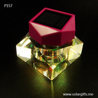 Luxury crystal perfume bottle car air fresher with color changing solar led light for car decoration