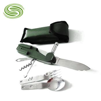 Wholesale Portable Outdoor Tableware Camping Cutlery Tools Multifunction Dinnerware with Light Multipurpose Tableware