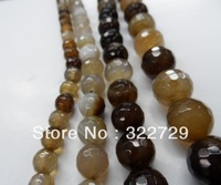 Free Shipping,10mm,Brown Faceted Agate  Beads, Natural agate loose beads, Semi-precious Stones,Diy Jewelry Accessories,76pcs/lot