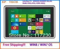 Free shipping!! Livefan F1 32/64-bit  Tablet PC Win7/Win8 OS Atom N2800/N2600 Dual Core 1.86GHz  3G 2/4G RAM 32/64/128G SSD