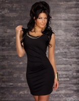 Red Black Blue 2013 HOT SELLER Women new fashion dress Sexy clubbing wear party dress with chain Free ship Drop ship MN82