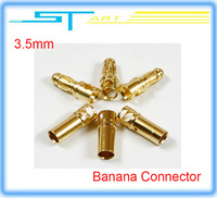 low shipping fee  10pairs/lot  male and female 3.5mm Gold Banana Connector 3.5mm Banana golden Plug gift