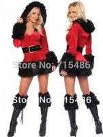 ML8009 Free Shipping New Designer Red Rabbit Hair Velvet Long Sleeved Hooded Christmas Costumes