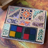 2013 Square design  restore ancient ways lace seal including four colors 2 sets inkpad  free shipping