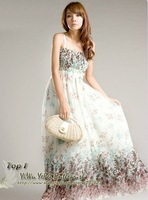 Hot sale 2013 new Free shipping Bohemia Indigenous flavor long style brace chiffon maxi strapless dress