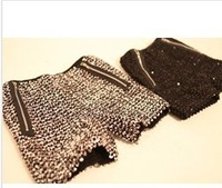 Paillette zipper decoration blingbling knitted wool shorts free shipping