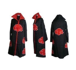 Retail 2012 Fashion Free Shipping to world FS Promotion New Anime Costumes Naruto Akatsuki Cosplay Cloak Size S M L XL XXL(China (Mainland))