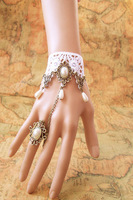 vintage jewelry white lace charm bangle pearl ring crystal charm bracelets fashion girls hand chain popular women accessories