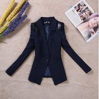 Free shipping 2014 new blazers women's shrug shoulder big size coat  XXXL blazer PU patchwork short casual blazer T205