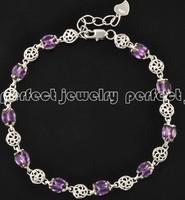 Amethyst bracelet  Natural amethyst chain bracelets 925 sterling silver Purple gems jewelry Fashion and fine jewels