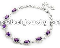 Amethyst bracelet  Natural amethyst chain bracelets 925 sterling silver Purple gems 1pc/jewelry box fine chain bracelet