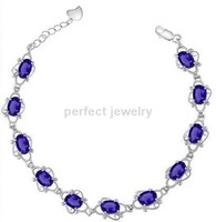Free shipping Chain bracelet Natural amethyst  925 sterling silver chain bracelets ,purple gem chain bracelet