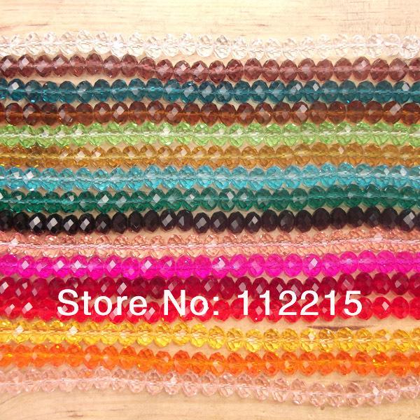Spedizione gratuita in 10 Wholsale string1500 lotto pc 4 mm mix di colori perline di cristallo piatto 4*3mm v4001