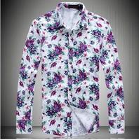 95% Cotton Man Spring 2014 Autumn Men's  Shirts  Long sleeve Flower Casual Dress shirt  Plus Size XXXL XXXXL 5XL