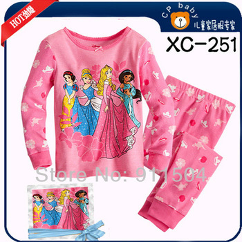Free Shipping! baby girls' clothing set princess pajamas set girl's sleepwear night gowns cotton homewear long pants 6sets/lot