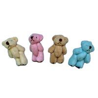 Free shipping 100pcs/lot 4.5cm Mini Joint Bear Bare Joint Bear Doll Cell Phone Pendant Cartoon Plush Stuffed Toy Doll 4 colors