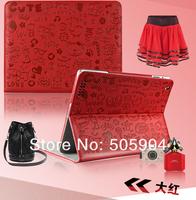 2013  New Fashion  Cartoon  Design Skin Luxury  Skin Leather  Case For  ipad2  ipad3  ipad4  New ipad      Smart  Cover Girl