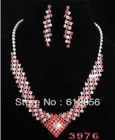 Fashion Alloy Earring And Alloy Necklace Sets With Rhinestone red wedding jewelry set,Gold Plated.OPP+card packing
