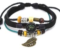 Wholesale 20 pcs/Lot Vintage leaf Pendant Ethnic Surfer Hemp Leather Bracelet Unisex Wristband A332