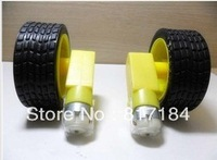 Free shipping,10 set Smart Car Robot Plastic Tire Wheel Tyre + DC3-6V Gear Motor For Robot