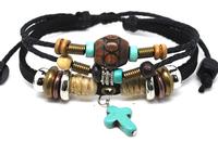 Wholesale 20 pcs/Lot Turquoise Cross Pendant Beads Surfer Tribal Hemp Leather Bracelet Wristband A303