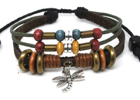 Wholesale 20 pcs/Lot Silver Dragonfly Pendant Multi Wrap Wrist Cuff Hemp Surfer Leather Bracelet A497