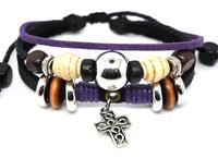 Wholesale 20 pcs/Lot Women/Men's Cross Pendant Ethnic Wrist Cuff Hemp Surfer Leather Bracelet A442