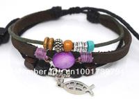 Wholesale 20 pcs/Lot Purple Shell & Fish Pendant Tribal Hemp Leather Bracelet Surfer Wrist Cuff A509