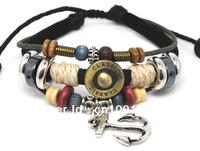 Wholesale 20 pcs/Lot Charming Anchor Pendant Mens Womens Wrist Cuff Hemp Surfer Leather Bracelet A182