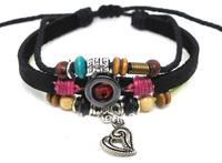 Wholesale 20 pcs/Lot Heart Pendant Beads Surfer Ethnic Tribal Hemp Leather Bracelet Wristband A259