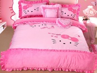 100% Cotton Velvet 4PCS Hello Kitty Bedding Set Princess Style Queen Size Bedding High Quality Cartoon Bed Skirt