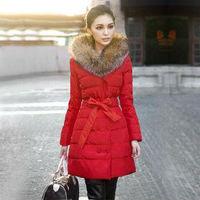 Free Shipping  New Arrival Liren Women's Luxury Large Fur Collar Down Jacket  Winter Coat Warm Padded Parka Outerwear