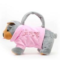 Lovely Pet Dog Shaped mini handbag Fashion and fun Plush bags with 2 strings