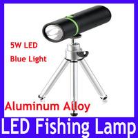 Free shipping Aluminum alloy led flashlight torch with tripod \ 5W blue LED fishing lamp,2pcs/lot