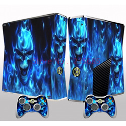 NEW Vinyl Skin Sticker For Xbox 360 Slim Decal Skull Heads + 2 New Controller Skins + Free Shipping(China (Mainland))