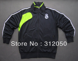 Men ' s top thailand quality soccer jackets real madrid black and green wears football coats sport clothings(China (Mainland))