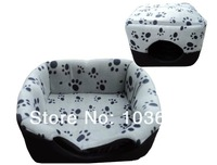 2014 Winter Classic Warm Dual-use Pet Nest Cashmere Paw Print Pattern Kennel Bowl -shaped Nest House Dog Sofa Bed Pet Supplies