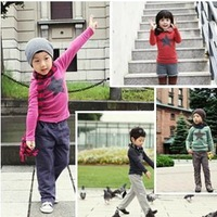 Wholesale--Children clothes baby long sleeve  Bottoming shirt   Girl and boy Five-pointed star T shirt  4 colors 5piece/lot