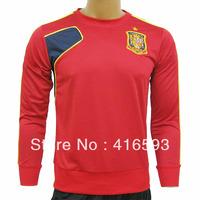 12/13 spain soccer uniforms red+blue long sleeve # 3 Pique # 6 Iniesta # 8 Xavi # 10 fagregas football training suit size smlxl