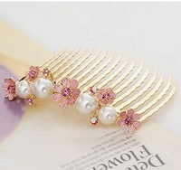 Fashion Jewelry Flower And Pearl Lady's Hair Claw Clip Combs AF026