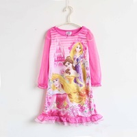 Children's clothing dis ey cutout sleeves princess dress cartoon pink nightgown