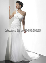 Best Selling 2013 Sexy Bridal Gowns Online One-shoulder Asymmetric Neckline Chiffon Beach Wedding Dresses(China (Mainland))