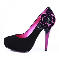 Black  PU Fashion PATY Stiletto High-heeled Shoes For women's Girl Free shipping