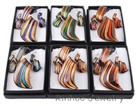 6boxes twist gold dust lampwork murano glass necklace earrings jewelry sets NO.W29469Y66
