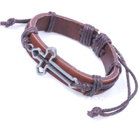 Free Shipping 12pcs/Lot Brown Leather Cross Pulseira Braided Unisex Bracelet Punk Gothic Cool Jewelry QNW0044