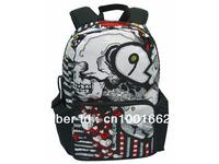 Free Shipping New 17inch white skull printing school backpack bag BBP103