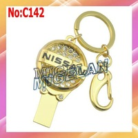2014 Top Fasion Stock Metal Jewelry Nissan Car Key USB 2.0 Flash Memory Pen Drive U Disk Free Shipping Gold Pendrive 64GB #CA142